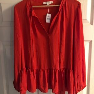 NWT LOFT Peplum Blouse - Orange - L